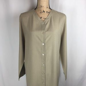 NWT Eileen Fisher Duster Toast Color 100% Silk Sz
